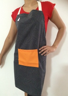 Geometric Grey Stripes Wash and Wear Apron